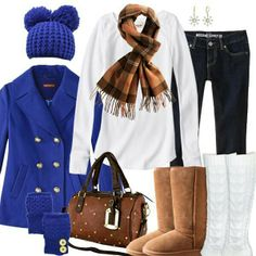 Royal blue jacket and cute winter outfit