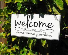 Welcome Please Remove Your Shoes Wood Sign Home Decor Housewarming Gift Wall Sign..