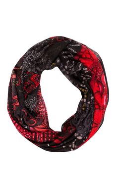 """Desigual Scarf """"Bolas Rojas"""", 47W5836. Desigual oversize infiniti scarf with gorgeous colourful floral print and design (in black and red). Best Desigual Scarves."""