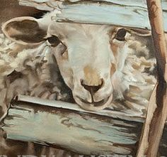 Sheep Painting Giclee Print of a sweet sheep KISS by pinkgloves2