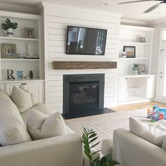 Basement fireplace, family room walls, shiplap fireplace, basement family r Basement Fireplace, Fireplace Redo, Family Room Fireplace, Fireplace Built Ins, Fireplace Remodel, Fireplace Surrounds, Fireplace Design, Shiplap Fireplace, Fireplace Ideas