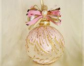 Faberge Inspired Christmas Ornament || Christmas ornament, Christmas tree ball, glass bauble, glass ornaments, hand painted, pink, gold