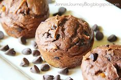 5 Ingredient Chocolate Caramel Muffins, no eggs, no butter, no oil.    If you've pinned this and are getting an error, click continue to site or repin this link! =)