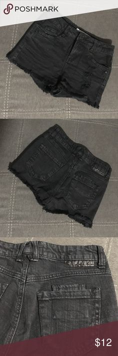 Jolt black frayed shorts Jolt black frayed shorts. Destroyed in the front left leg. High-waisted fit. Size 1 but fit more like a 0. Perfect little short shorts to wear to a festival! Jolt Shorts Jean Shorts