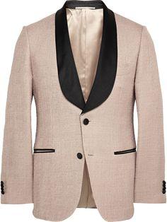 MP Massimo Piombo Contrast-Trim Bouclé Tweed Tuxedo Jacket