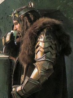 The mighty Thorin Oakenshield King Under the Mountain drinking from a plastic glass lol