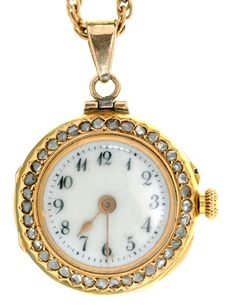 A DIAMOND SET LADY'S FOB WATCH IN GOLD, MARKED 18CT, REF 13961, 23MM DIAM, ON A GOLD CHAIN, 62CM L, 27.7G  Sold @ Mellors & Kirk Gold Chains, Pocket Watch, Watches, Diamond, Lady, Accessories, Clocks, Pocket Watches, Clock