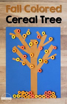 Cereal Fall Tree Craft - this is such a fun, simple-to-make fall craft for kids from toddler, preschool, prek, kindergarten, first grade