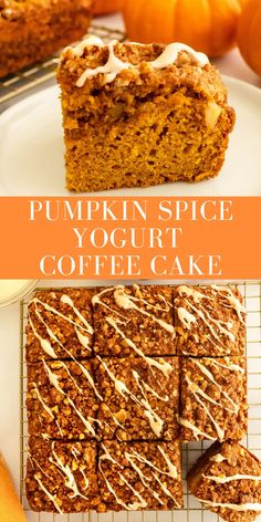 Pumpkin spice coffee cake is made with simple ingredients, swaps out sour cream for greek yogurt and is lower in sugar than typical coffee cake. Packed with pumpkin and pumpkin spice, it doesn't lack in fall flavor and makes for the perfect dessert or treat to have in the fall! This cake can also be made gluten free. #pumpkin #coffeecake #pumpkinspice #fall #cake #yogurt #lowerinsugar #simple #streuseltopping #onceuponapumpkin Pumpkin Yogurt, Healthy Pumpkin Pies, Pumpkin Spice Muffins, Pumpkin Spice Coffee, Spiced Coffee, Pumpkin Recipes, Fall Recipes, Pumpkin Bread, Easy Cake Recipes