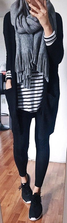 #fall #outfits women's gray scarf, black cardigan, black leggings, black shoes outfit