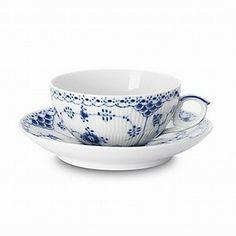 Royal Copenhagen Blue Fluted Half Lace Teacup & Saucer | Bloomingdale's