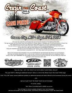 Cruzin the Coast 2014 - Sept. 11-14  Click here to learn how to get Bike Week & Cruzin' the Coast News & Info texted straight to your phone!