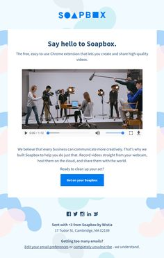 Introducing Soapbox, Wistia's video creation tool - Really Good Emails Newsletter Format, Newsletter Design, Email Template Design, Email Design, Email Marketing Design, Digital Marketing, Web Design Inspiration, Design Trends, Visual Hierarchy