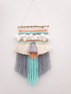 Weave Loom Wall Hanging Woven Pastels Tassels by NatashaaaEmily Weaving Wall Hanging, Weaving Art, Weaving Patterns, Tapestry Weaving, Loom Weaving, Wall Hangings, Textiles, Weaving Projects, Fabric Manipulation