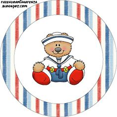 Making My Party!: Bear Sailor Blue and Red - Complete Kit with frames for invitations, labels for snacks, souvenirs and pictures!