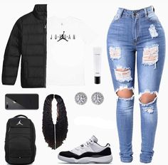 Cute Outfits With Jordans Crop Tops - Girl Nike Outfits, Swag Outfits For Girls, Boujee Outfits, Cute Swag Outfits, Teenage Girl Outfits, Cute Comfy Outfits, Cute Outfits For School, Teen Fashion Outfits, Dope Outfits