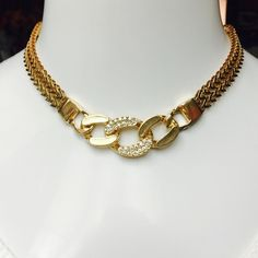 """GOLD Tone Crystal Pave Heavy Link Choker BEAUTIFUL! Glamour Girls Gold Tone Crystal Pave Heavy Link Choker Necklace. Measures 16"""" in Length with a 2.5"""" extender. BRAND NEW, NO TAGS- Lobster Claw Closure. RETAIL $50.00 Glamour Girls  Jewelry Necklaces"""