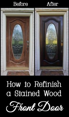 Tips and Tricks for How to Refinish a Stained Wood Front Door - Restain, DIY, Do it yourself, home, house, fix, easy, cheap, budget, entry, not removed