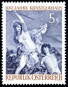 """Stamp: """"Triumph of Ariadne"""" by Hans Makart (Austria) (Artists Society) Mi:AT 1132 Rare Stamps, Vintage Stamps, German Stamps, Postage Stamp Design, Stamp Printing, Triumph, Gravure, Mail Art, Stamp Collecting"""