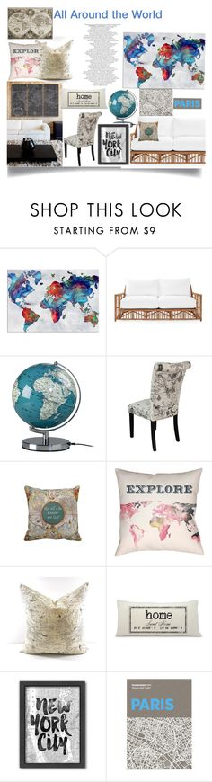 """""""All Around the World"""" by jeneric2015 ❤ liked on Polyvore featuring interior, interiors, interior design, home, home decor, interior decorating, Oliver Gal Artist Co., Serena & Lily, Wild & Wolf and Monsoon"""