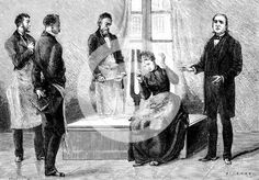 Jean Martin Charcot demonstrating hypnosis, 1879. Charcot (1825-1893) French neurologist and pathologist, right, demonstrating the production of hypnosis using the sound from a large tuning fork. Picture drawn from life at the Salpetriere Hospital, Paris. Freud, a pupil of Charcot, heard of posthypnotic suggestion from him. From La Nature. (Paris, 1879).