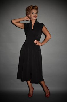 Classic black 1940's style summer swing dress at Deadly is the Female