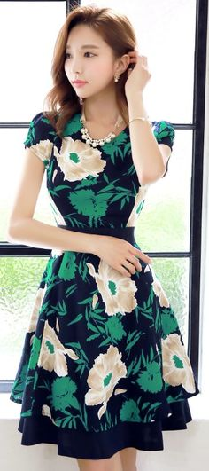 StyleOnme_Floral Print Cotton Linen Blend Short Sleeve Dress #flower #floral…