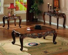 Traditional Brown Coffee Table Set
