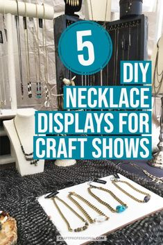 5 necklace display stands jewelry makers can DIY for your craft show booth display. Diy Necklace Display Stand, Wood Jewelry Display, Jewelry Booth, Jewelry Display Stands, Jewellery Display, Craft Show Booths, Craft Fair Displays, Display Ideas, Handmade Jewelry Business