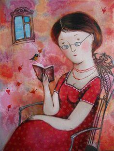 Leyendo en primavera (Ilustración de Anna Silivonchik)