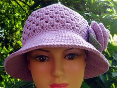 crocheted hats for women | made this hat with the same cotton yarn of the rose brooch I made a ...