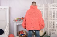 MATERIAL : 100 % unspun merino wool ____________ COLOUR : Corail ( There may be a slight difference because of the different monitors' representation) ____________ ♥ In the picture the model is wearing a garment with these measurements : A: Hand Knitted Sweaters, Cool Sweaters, Thing 1, Cable Knit Sweaters, Merino Wool, Hand Knitting, Told You So, Turtle Neck, Pullover