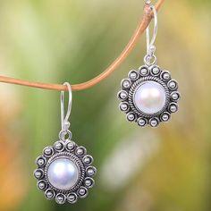 Cultured pearl dangle earrings, 'Strong Sun' - Hand-Crafted Cultured Pearl and Silver Earrings Sun Shaped Jewelry Design Earrings, Gemstone Jewelry, Dangle Earrings, Silver Jewellery, Silver Ring, Jewelery, Handmade Sterling Silver, Sterling Silver Earrings, Oxidized Silver