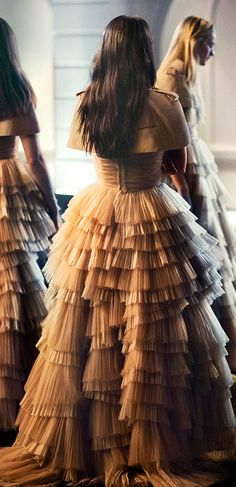 Soft layers of honey tulle and organza - artistic eveningwear in the Burberry festive story