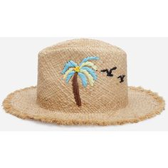 Palm Tree Pattern Raw Trim Straw Hat (3.530 HUF) ❤ liked on Polyvore featuring accessories, hats, beige, palm leaf straw hats, palm straw hats, beige hat, palm tree hat and palm leaf hats