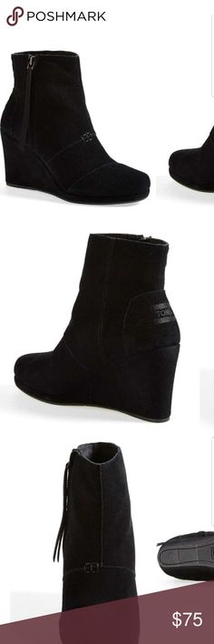 Toms desert wedge bootie Black suede wedge bootie. Brand new without tags. Size 9 1/2 Toms Shoes Wedges