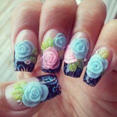 Acrylic sculpted nails with 3D nail art