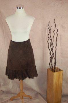 Elevenses Suede Skirt 8 Brown Lace Hem