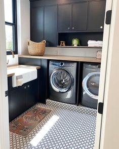 Stunning laundry room with vintage tribal rug and tile flooring. Built by: @splitrockcustomhomes⁠. Interiors by: @beckiowens. Click the image to try our free home design app.  (Keywords: laundry room ideas, laundry room decor, small room decor, laundry room organization, laundry room colors, laundry room shelf, small laundry room ideas dream home, home decor ideas, diy home decor, laundry room makeover) Laundry Room Colors, Laundry Room Shelves, Small Laundry Rooms, Laundry Room Organization, Laundry Room Design, Laundry Room Inspiration, Interior Inspiration, Style Inspiration, Design Your Dream House
