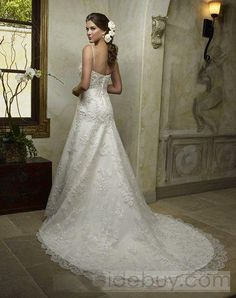 Dazzeling A-line Spaghetti Straps Embroidering Lace Chapel Train Wedding Dresses-back view-tidebuy.com
