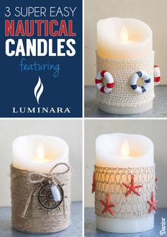 Three super easy ways to decorate a candle with a Summer Nautical Theme!