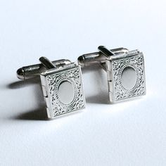 Men's Silver Photo Book Locket Cufflinks New by Lynx2Cuffs on Etsy, $27.99