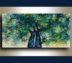 "RESERVED ------------ORIGINAL Landscape painting, by Tatjana Ruzin - Impressionist - Two Chesnut trees, Spring Landscape, June 3th 48""x24"""