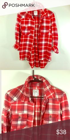 Red Plaid Flannel Beautiful red plaid flannel top. Super soft material. Worn once. Perfect for Valentine's Day. High front and lower back. It's at waist and I am 5 foot eight. Save 20% when you bundle two or more items. No trades. Ships within 24 hours Billabong Tops Button Down Shirts