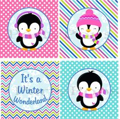 Penguin Party, Printable, Decoration, Birthday, Winter Wonderland Party, Penguin, Winter Party, Girl,  1st Birthday,  INSTANT DONWLOAD by PartyPops on Etsy https://www.etsy.com/listing/172525160/penguin-party-printable-decoration