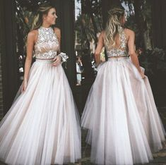 Two Piece Prom Dress,High Neck Tulle with Rhinestone Prom Dresses,Long Prom Dresses,Floor Length Prom Dresses