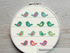 counted cross stitch pattern birds birds in a row DIY