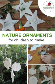 Nature ornaments for children to make perfect for kid made gifts for Christmas or mohter's day Preschool Christmas Activities, Preschool Crafts, Activities For Kids, Nature Activities, Classroom Crafts, Activity Ideas, Sensory Activities, Learning Activities, Crafts To Make