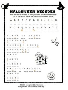 halloween code breaker cryptoquiz brain teaser printables for kids free word search halloween activitieshalloween party ideashalloween - Halloween Printable Crafts For Kids 2