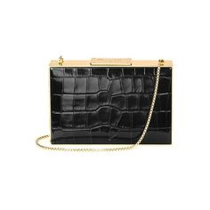 Aspinal of London Scarlett Box Clutch In Deep Shine Black Croc ($870) ❤ liked on Polyvore featuring bags, handbags, clutches, black deep shine croc, over the shoulder purse, genuine leather purse, structured leather handbags, lightweight handbags and box clutch